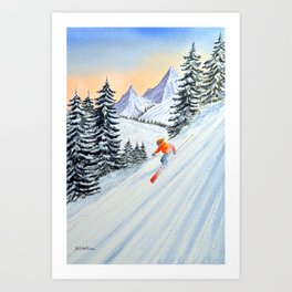 Skiing - The Clear Lady Leader Art Print
