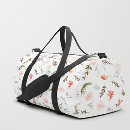 Coral pink green watercolor hand painted floral Duffle Bag