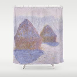 Haystacks, Effect of Snow and Sun by Claude Monet Shower Curtain