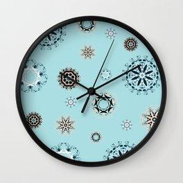 Blue Mandala, Pattern, Digital Design, Shapes Wall Clock
