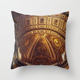 Golden Roman Basilica Throw Pillow