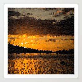Autumn Sunset Mosaic #decor #society6 Art Print