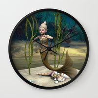 little mermaid Wall Clocks featuring Little Mermaid by Design Windmill