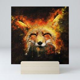 happy fox smiling splatter watercolor Mini Art Print
