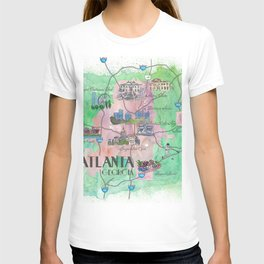 Atlanta Favorite Map with touristic Top Ten Highlights T-shirt