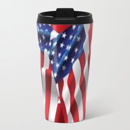 Patriotic American Flag Abstract Art Travel Mug