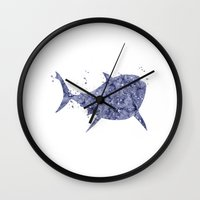 finding nemo Wall Clocks featuring Finding Nemo Bruce Disneys by Carma Zoe
