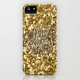Glitter Gold Xmas iPhone Case