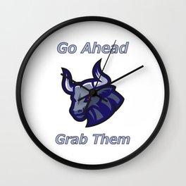 Bull Horns - Just Grab Them Wall Clock