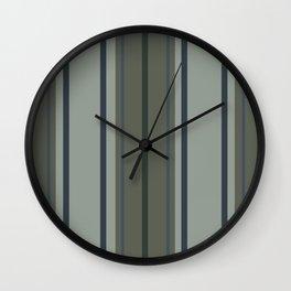 Greens Blues Stripes Wall Clock