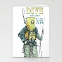 diver Stationery Cards featuring Diver by pakowacz