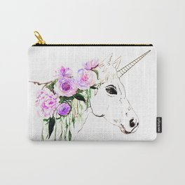 Unicorn with purple flowers Carry-All Pouch