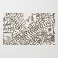 nashville Area & Throw Rugs featuring Nashville Map by Zeke Tucker