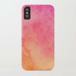 Modern summer hand painted pink orange sunset watercolor wash iPhone Case