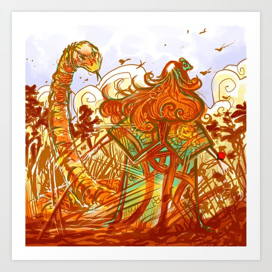 The red and the snake Art Print
