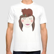 Bear in Mind White Mens Fitted Tee MEDIUM