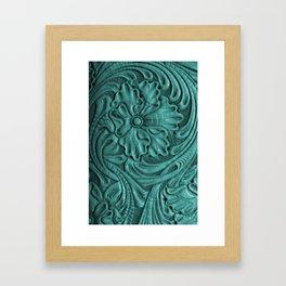 Teal Flower Tooled Leather Framed Art Print
