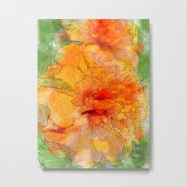 Golden Marigold Watercolor Metal Print