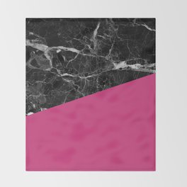 Black Marble and Pink Yarrow Color Throw Blanket