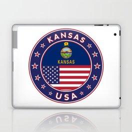 Kansas, Kansas t-shirt, Kansas sticker, circle, Kansas flag, white bg Laptop & iPad Skin