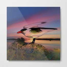 Sunset Take-off - Gull Painted with Sunset Colors Metal Print