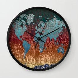 world map mandala vintage Wall Clock
