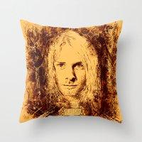 kurt cobain Throw Pillows featuring 27 Club - Cobain by MUSENYO