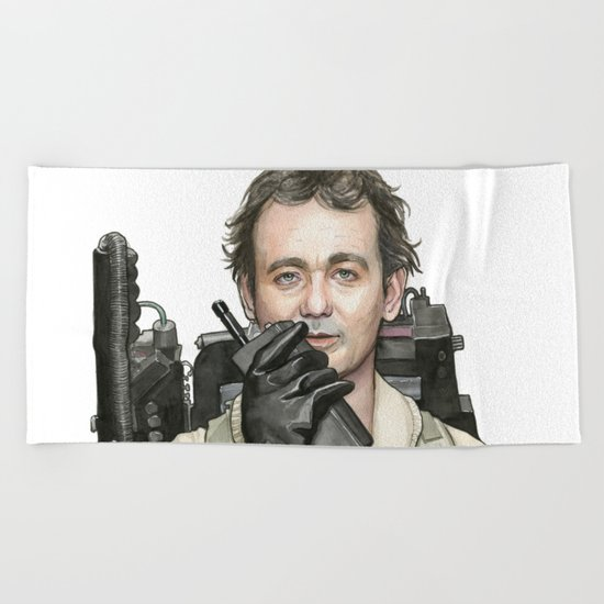 Bill Murray as Peter Venkman from Ghostbusters, Watercolor Portrait Beach Towel
