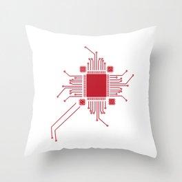 Geek CPU Red Throw Pillow