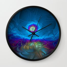Fantasy, Abstract Fractals Art With Blue Wall Clock