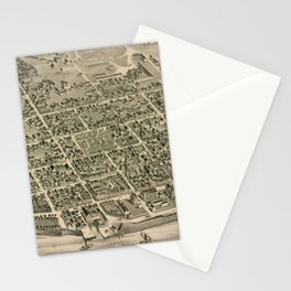 Vintage Pictorial Map of Fredericton New Brunswick (1882) Stationery Cards