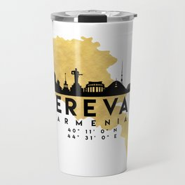 YEREVAN ARMENIA SILHOUETTE SKYLINE MAP ART Travel Mug
