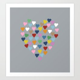 Hearts Heart Multi Grey Art Print
