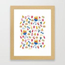 Summer BBQ Pattern - Blue Red Yellow Framed Art Print