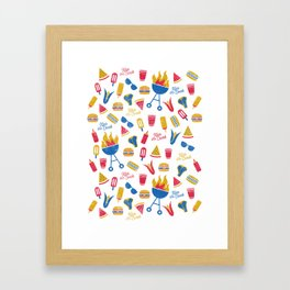 Summer BBQ Pattern - Blue Red Yellow Framed Art Print