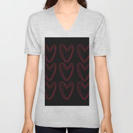 Red Hearts Unisex V-Neck
