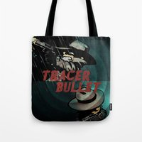 calvin and hobbes Tote Bags featuring Calvin & Hobbes: Tracer Bullet Alternate by Gallery 94