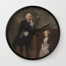Arthur Devis - An Unknown Man with His Daughter (1748) Wall Clock
