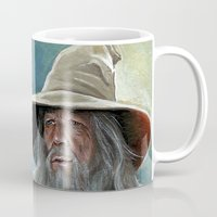 gandalf Mugs featuring Gandalf the Grey by Manuela Mishkova