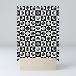 Nola fleur de lis checkered Mini Art Print