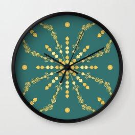Golden Geometric Fretwork Star in Emerald teal Green Wall Clock
