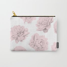 Simply Roses in Pink Flamingo Pink on White Carry-All Pouch