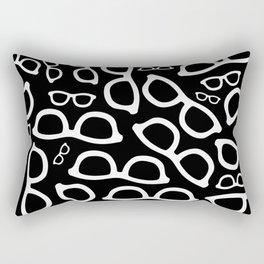 Smart Glasses Pattern - White on Black Rectangular Pillow
