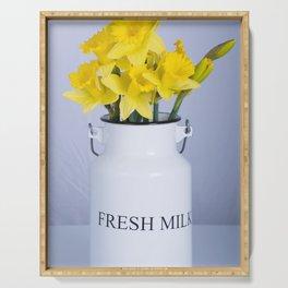 Daffodils in Fresh Milk Jug Serving Tray