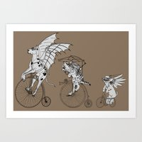 steam punk Art Prints featuring Steam Punk Pets by Rebecca Pocai