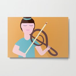 Girl playing music Metal Print