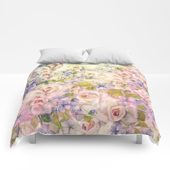 rose pastel Comforters