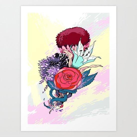 Chrysanth Wisteria & Lily - & Rose  Art Print