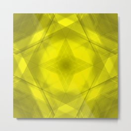 Scalding triangular strokes of intersecting sharp lines with yellow triangles and a star. Metal Print