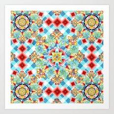 Gingham Festival Mandala Art Print